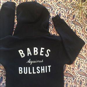 """Black zip up hoodie """"Babes Against Bullsh*t"""""""